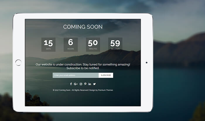 Custom Responsive Coming Soon HTML Template